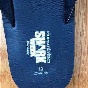 Vineyard Vines Shoes - Vineyard vines Shark Week flip flops size 13